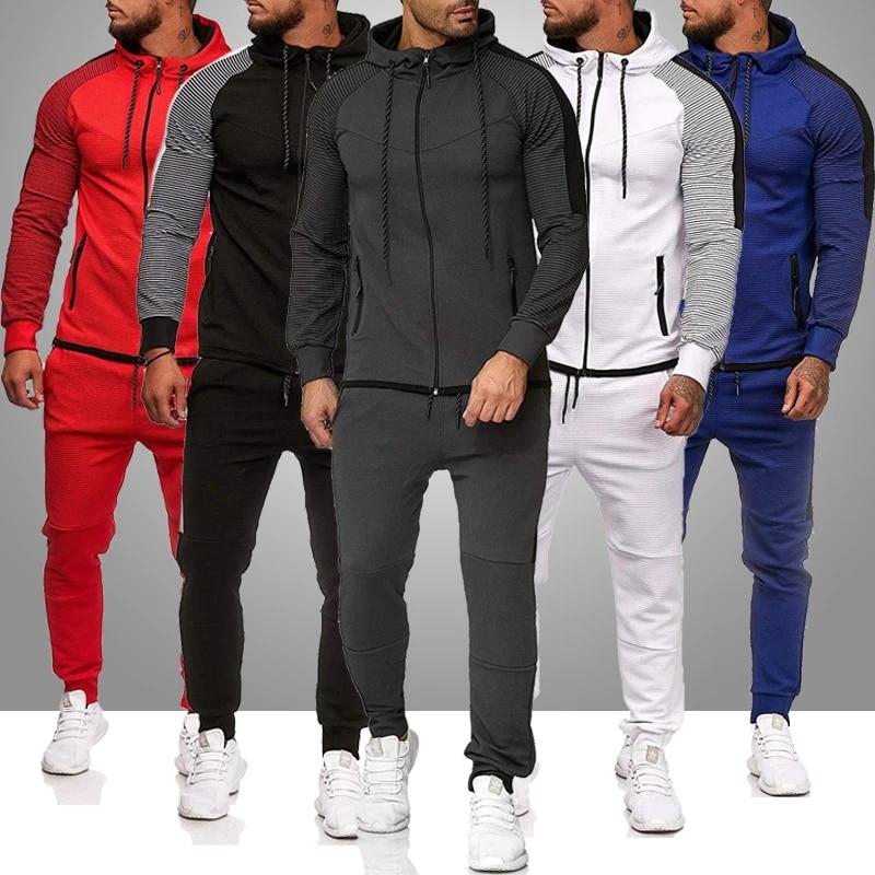 Men Set Zipper Hoodies and Pants Sets Male Tracksuit Men Casual winter clothing