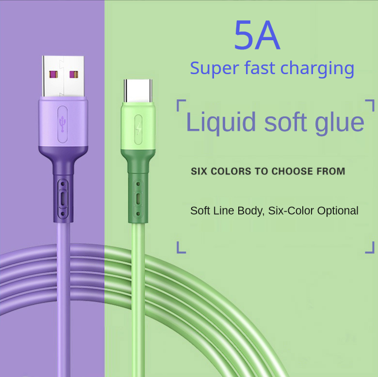 USB Type C Cable 5A Liquid Silicone Fast Charging Micro USB Cable for Samsung Xiaomi HTC Huawei Charger Data Cable Mobile Phone