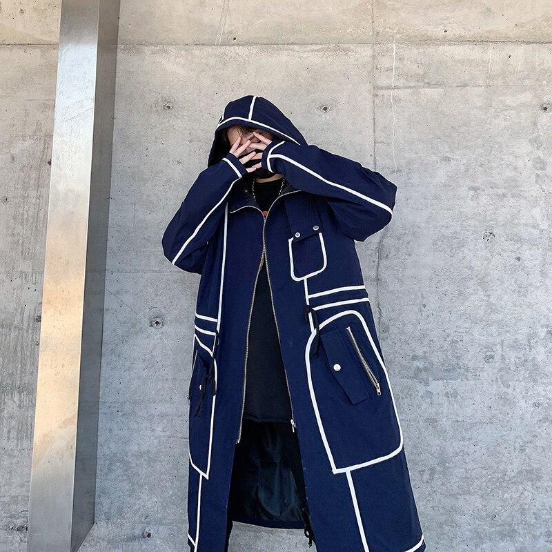 Trench   Coat Men Streetwear Long Jacket Hip Hop Line Male Fashion Windbreaker Spring Autumn Hooded Overcoat