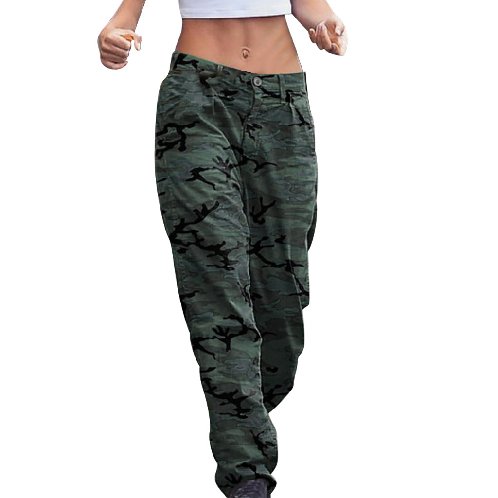 Womens Plus Size Camouflage Print Button Zipper Pocket Loose Trousers New Fashion Ladies Hip Hop Casual Jogging Pants New Z0909
