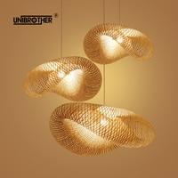 Bamboo Lantern Tea Room pendant light Lamp hangping Lights Chinese E27 Lantern Southeast Asian Style Japanese Garden