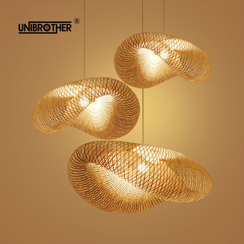 Bamboo Lantern Tea Room pendant light Lamp hangping Lights Chinese E27 Lantern Southeast Asian Style Japanese Garden