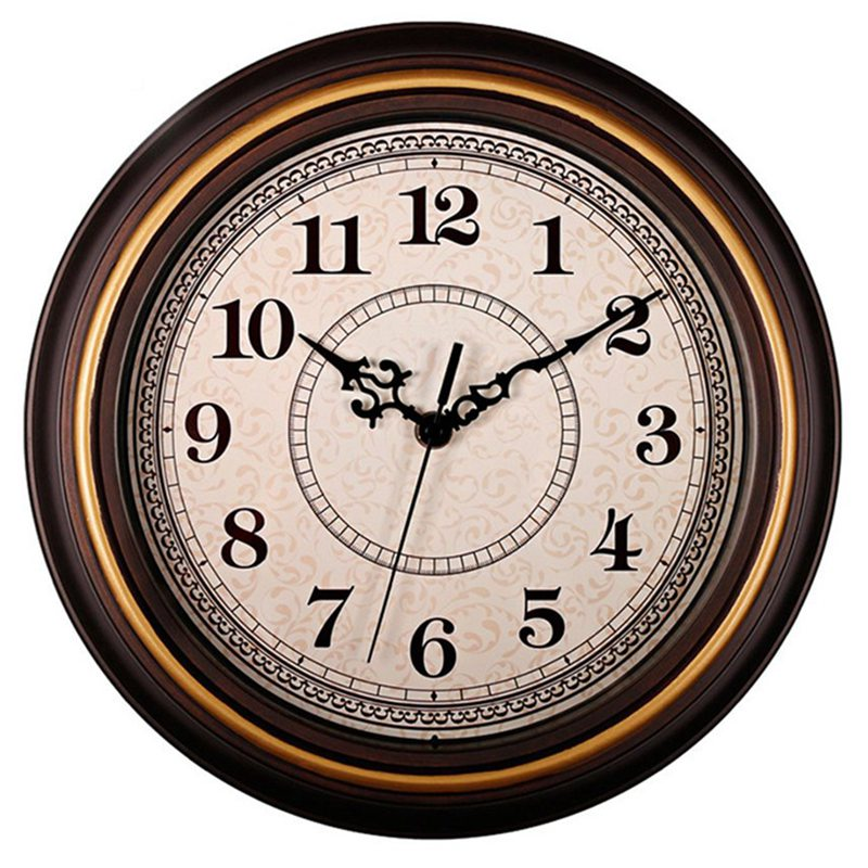 12-Inch Silent Non-Ticking Round Wall Clocks, Wall Clocks Decorative Vintage Style,Home Kitchen/Living Room/Bedroom(Golden Circl
