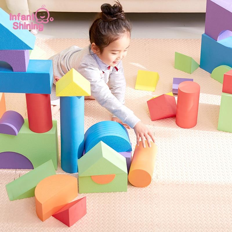 Brilhando Bebê Blocos de Construção de Grandes Blocos de Brinquedos Educativos infantis Grande para Crianças 50PCS Pretend Play Game Brinquedos De Espuma de EVA