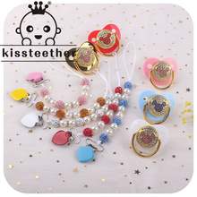 Kissteether 1set Baby Pacifier Clips Handmade Crystal Love Heart Pacifier Chain Holder Baby Shower Teether Teething Chain Gifts