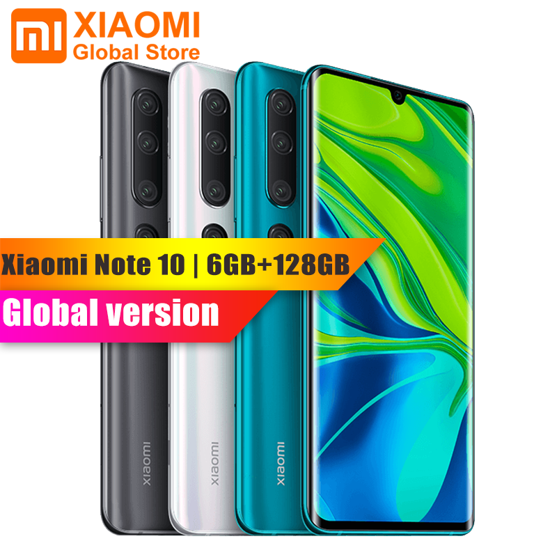 Global Version Xiaomi Mi Note 10 6GB RAM 128GB ROM Smartphone 5260mAh Battery 108MP Rear Camera Quick Charge Smart Mobile Phone