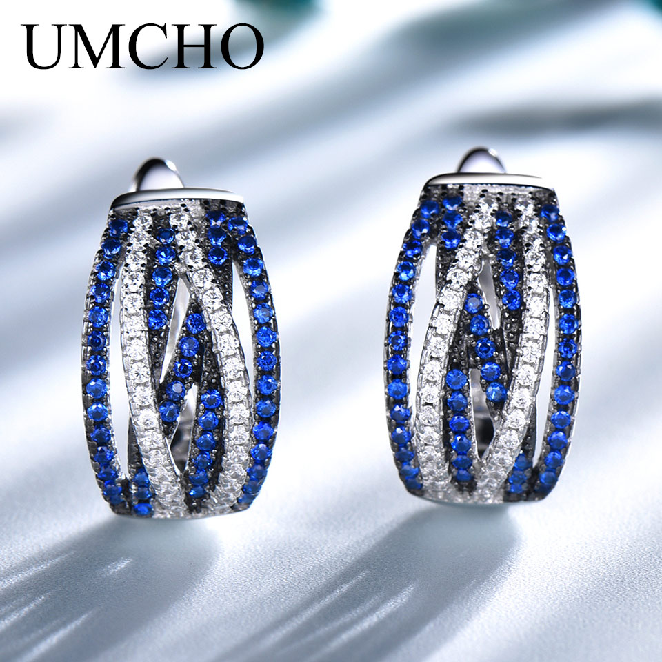 UMCHO Sterling Silver 925 Jewelry Sapphire Clip Earrings For Women Party Wedding Gift 925 Sterling Silver Earrings Fine Jewelry