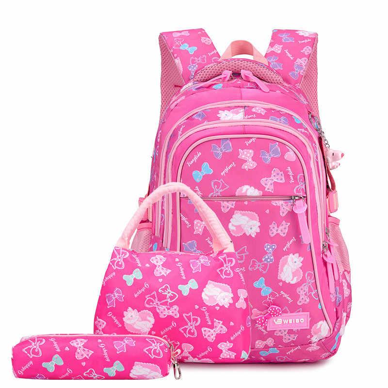 Новинка, 3 комплекта, водонепроницаемые детские школьные рюкзаки для девочек, детские школьные рюкзаки принцессы, комплект с принтом, школьный рюкзак для детей, mochila Infantil