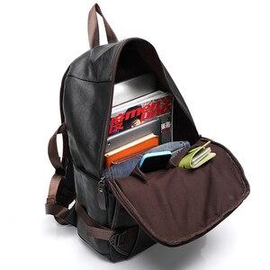Image 4 - Nouveau vintage hommes sac à dos mode style PU cuir école étudiant sacs ordinateur sac voyage sacs à dos