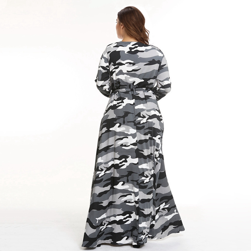 New Bohemian Long camouflage print party robe Plus Size 3XL 4XL Dress Ladies elegant O Neck Long Sleeve Autumn Maxi Dress tunic in Dresses from Women 39 s Clothing