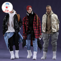 MCCToys Mr.Z 1/6 Men Fashion Flight Jacket sets Leather Coat Jeans Boots Model For 12 Inches Bigbang Clothes Accessory