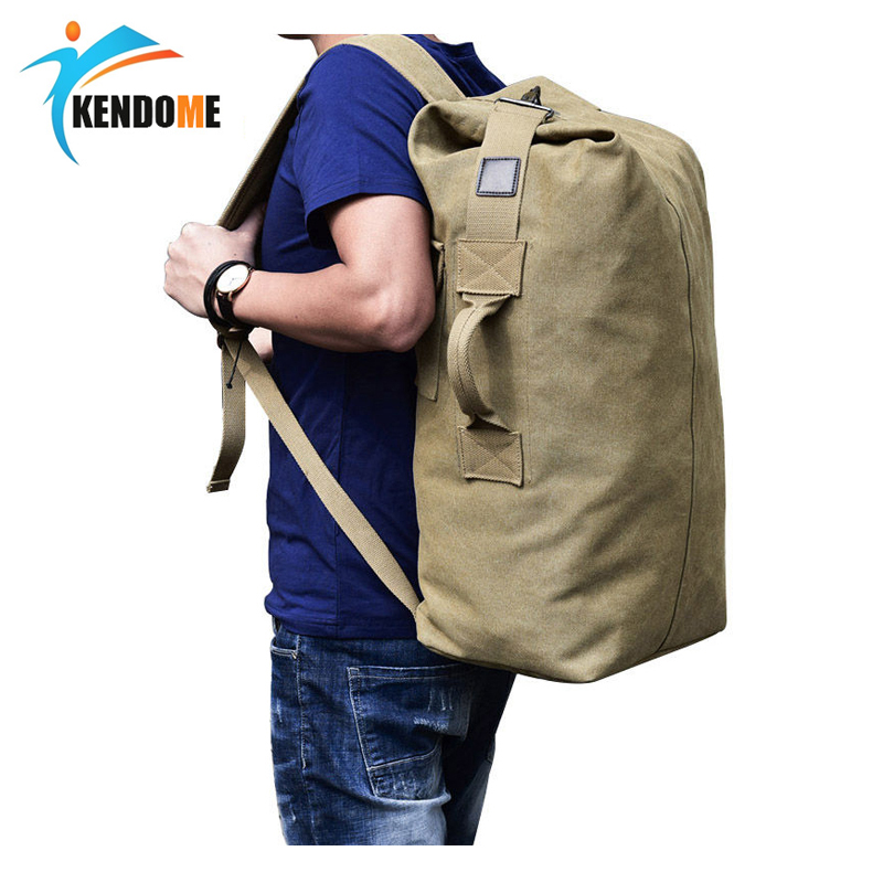 Men's Military Canvas Backpacks Male Multi-functional Bucket Shoulder Army Bag Tourist Foldable Outdoor Large Bag Rucksack