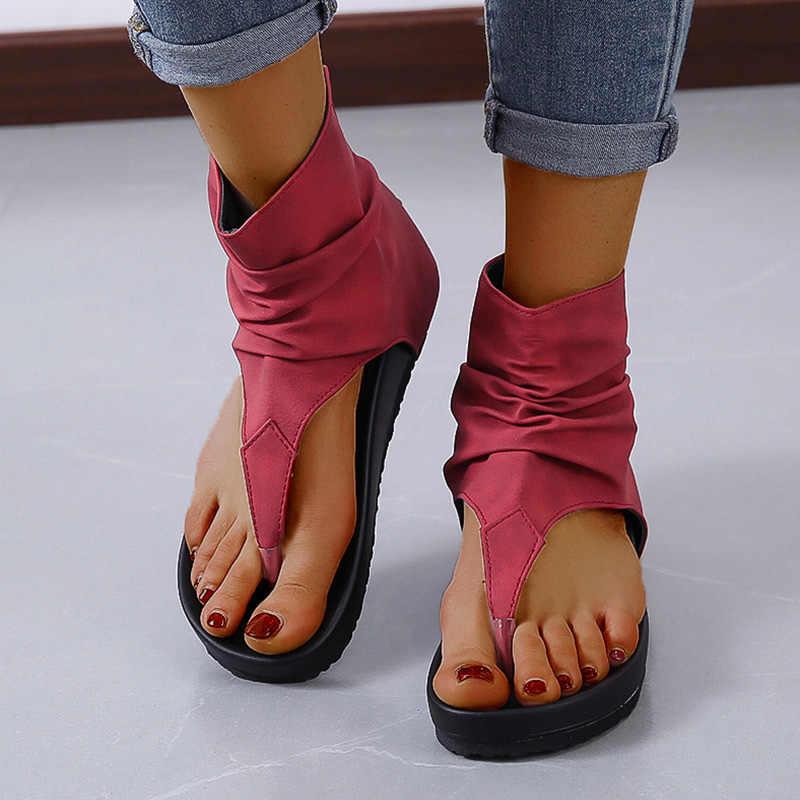 MCCKLE/женские сандалии; Женские сандалии-гладиаторы из искусственной кожи на плоской платформе с открытым носком; Летние женские вьетнамки на молнии; Повседневные женские сандалии