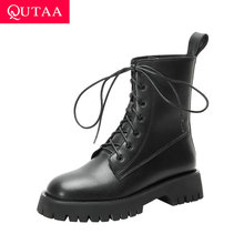 Square Heel Ankle-Boots Lace-Up Women Shoes QUTAA Winter Cow-Patent Ladies Pu Size34-39