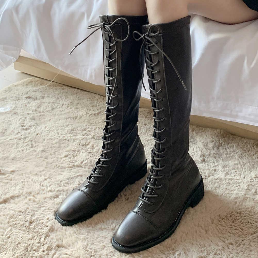 KARINLUNA ใหม่แฟชั่นสุภาพสตรีสบายๆสบายๆรองเท้าผู้หญิง 2020 LACE UP สีดำลูกวัวกลางรองเท้าส้นรองเท้าผู้หญิง
