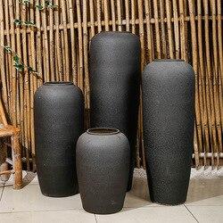 Prosta nowoczesna szara biała podłoga duży wazon ręcznie robiony kamień ceramika kwiatek doniczkowy ogród salon dekoracja doniczka