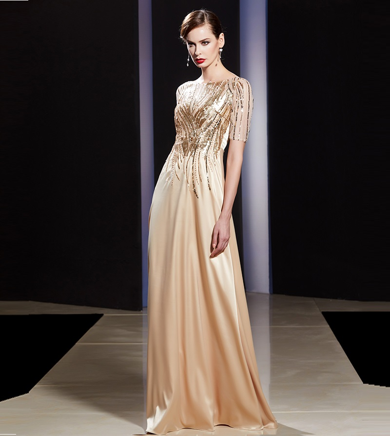 Women's formal prom evening dress sequined red gold long wedding party dress Plus size Ceremony Dress mother's formal dress
