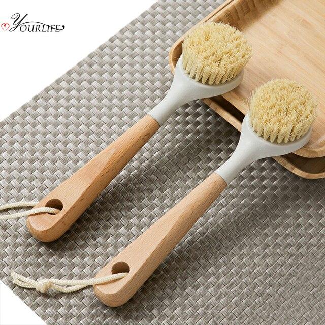 OYOURLIFE Kitchen Wooden Long Handle Cleaning Brush Pan Pot Bowl Tableware Brush Dish Washing Brush Home Kitchen Cleaning Tool 1