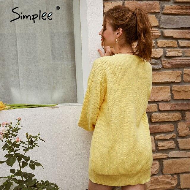 Повседневный длинный вязаный  свободный свитер на пуговицах с рукавами-фонариками 3
