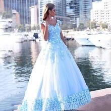 Бальное платье бальное небесно голубого цвета quinceanera кружево