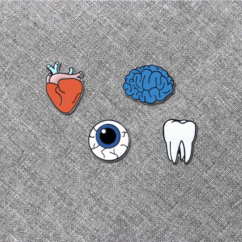 Mulheres anime coração olho cérebro dente médico broche pinos órgão de metal enfermeira backbag ícones esmalte pino broches crachás conjunto meninas