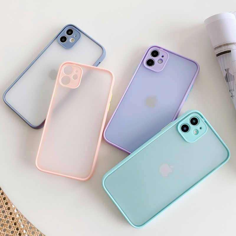 Luxe Contrast Color Case Voor Iphone 11Pro Max Xr X Xs Max 8 7 6 6S Plus Frame Matte hard Pc Beschermende Cover Coque