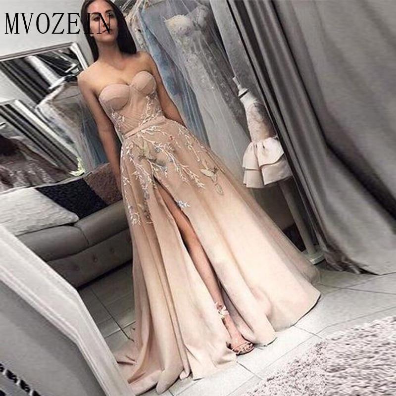 Champagne Evening Dresses 2019 Sweetheart A-Line Slit Appliques Satin Dubai Saudi Arabic Long Elegant Evening Gown Prom Dress