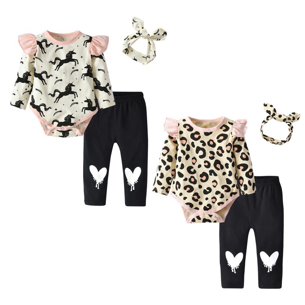 Bebê recém-nascido roupas da menina 3 pçs conjunto de roupas bonito dos desenhos animados impressão manga longa macacão + calças casuais bandana infantil roupas da criança