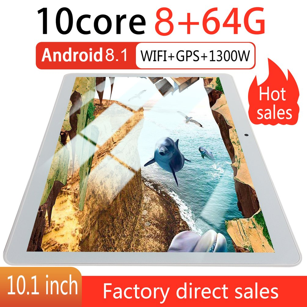 KT107 Round Hole Tablet 10.1 Inch HD Large Screen Android 8.10 Version Fashion Portable Tablet 8G+64G White Tablet White EU Plug