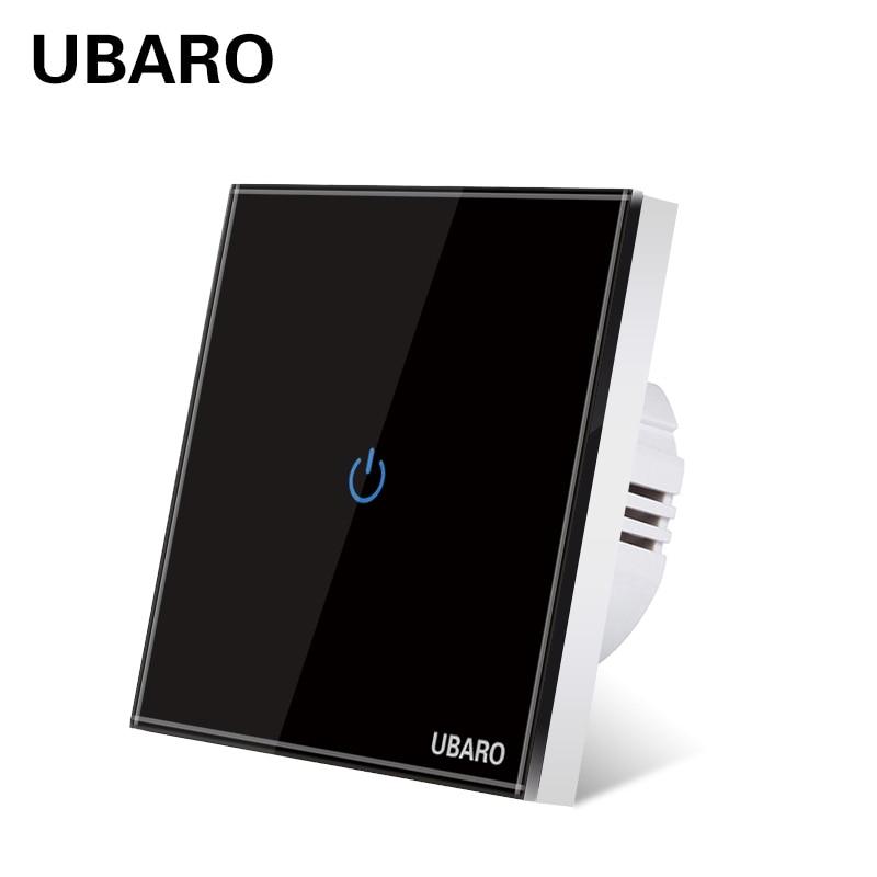 Сенсорный выключатель UBARO европейского стандарта из закаленного черного и белого хрустального стекла, Светодиодная панель, настенные выкл...