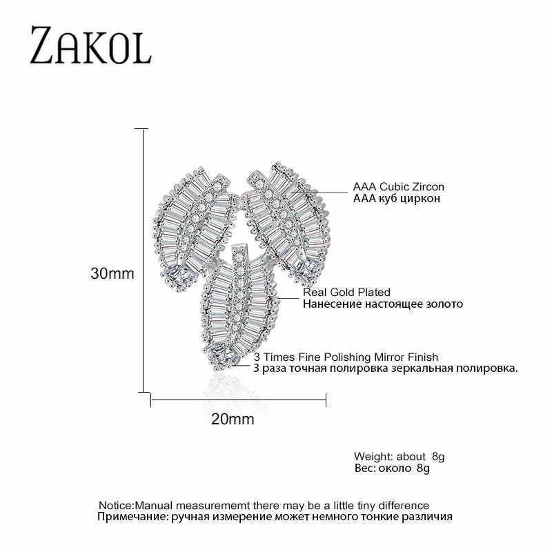 Zakol Thời Trang AAA Cubic Zirconia T Đá Bông Tai Nữ Cao Cấp Lá Cô Dâu Bông Tai Trang Sức Phụ Kiện FSEP2113