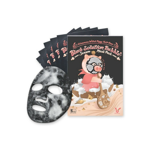 Elizavecca Witch Piggy Hell-Pore Black Solution Bubble Serum Mask Pack 5ea Deep Cleansing Skin Care Acne Treatment Pore Cleanser