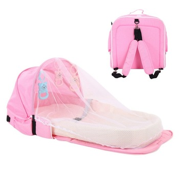 3Pcs Portable Bed Foldable Baby Bed Travel Sun Protection Mosquito Net Breathable Soft Infant Folding Sleeping Basket With Toys - Pink Backpack, Russian Federation