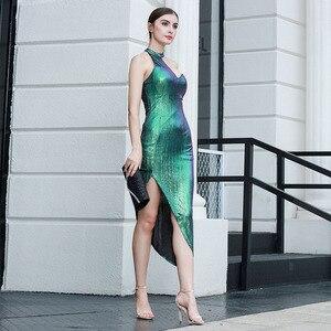 Image 2 - Robe à bandes Sexy, sans manches, moulante, boîte de nuit, robe de soirée, célébrité, nouvelle collection, été 2020