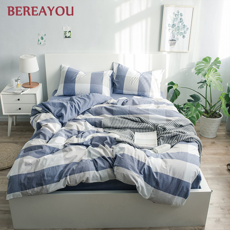 Japanese Bedding Sets Green Washed Cotton Simple Geometric Queen Size Duvet Cover Fitted Bed Sheet For Home lencol cama casal - 2