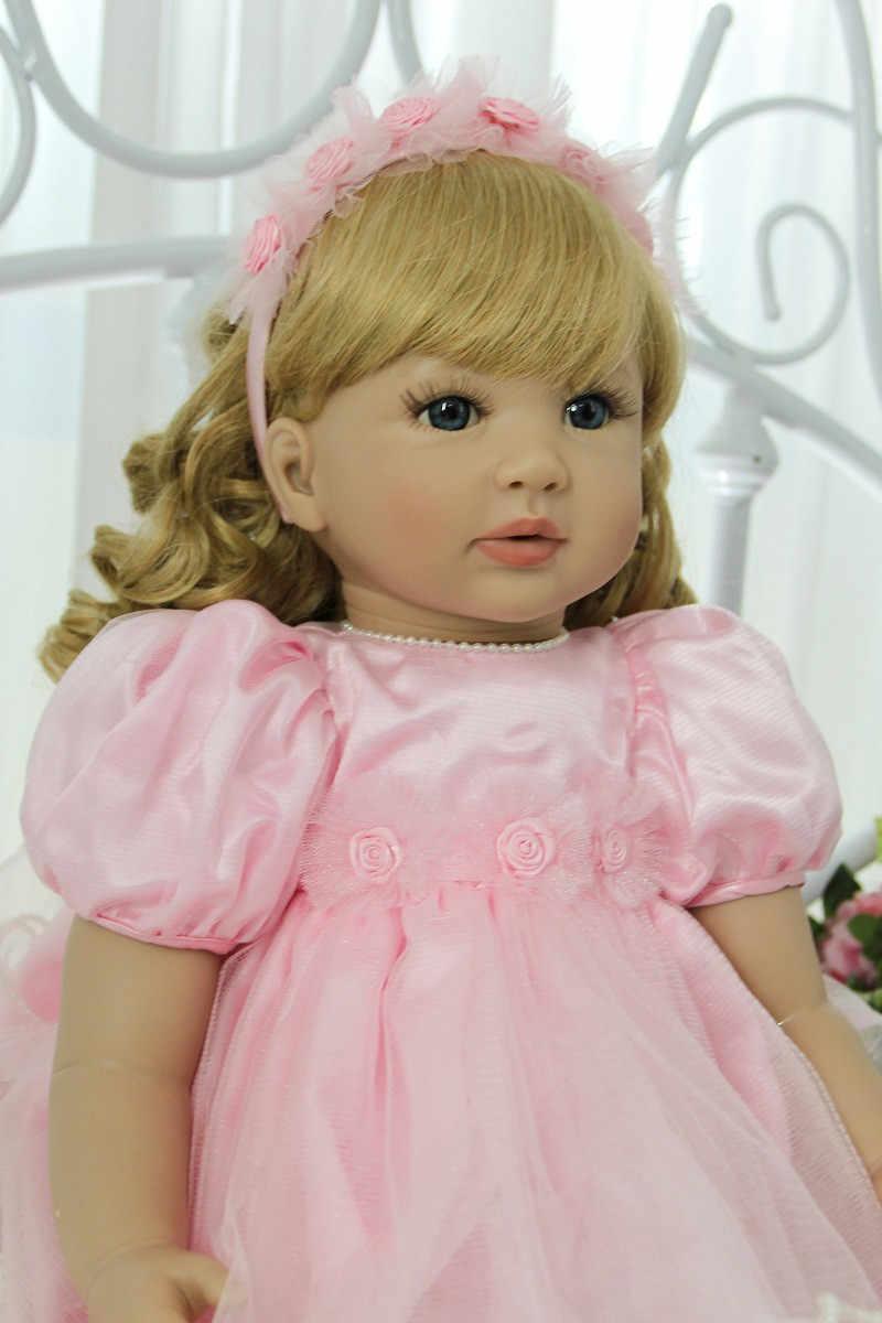 60 سنتيمتر تولد من جديد طفل فتاة مجعد شعر أشقر الأميرة في الوردي تنورة عالية الجودة النادرة دمية طفل نابض بالحياة