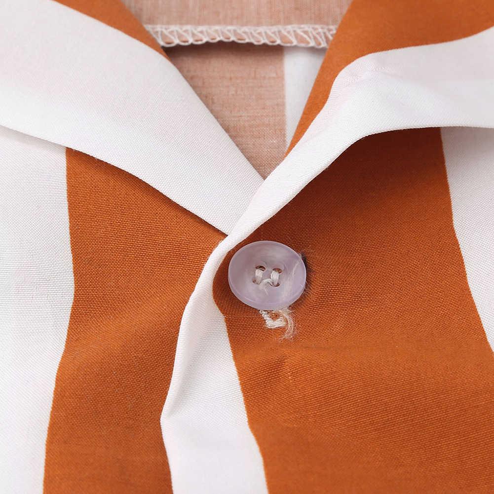 男性ファッションシャツカジュアル多色ストライプラペルシャツプリントシャツトップ男性ボタンターンダウン襟半袖ブラウス