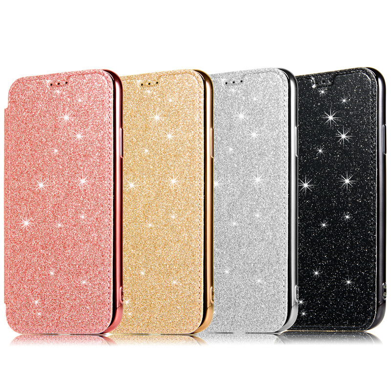 Luxury Glitter Slim Book Leather +TPU Wallet Flip Phone Protect Soft Case For iPhone 7 8 Plus 6 6s X Xr 11 Pro Xs Max Case Cover image