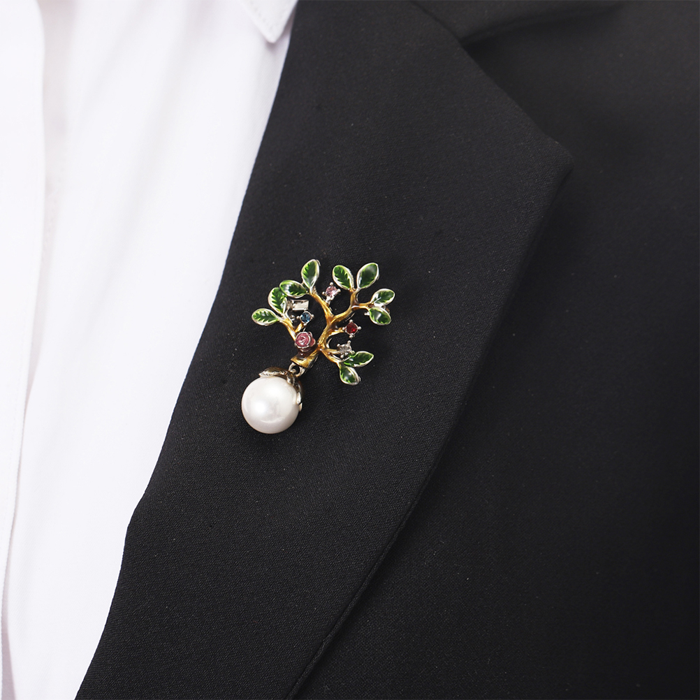 Pearl Decorated Brooch Lovely Little Tree Red Brooch Creative Pin in Brooches from Jewelry Accessories