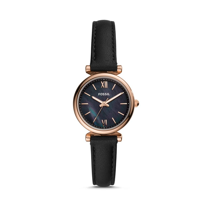 Fossil Womens Watches Carlie Mini Three-Hand Watch with Black Leather Ladies Luxury Watch Casual Dress ES4700