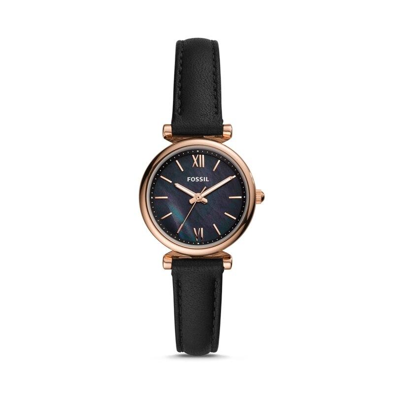 Zegarki damskie Fossil Carlie Mini zegarek ręczny z czarnymi skórzanymi damskimi luksusowymi zegarkami Casual Dress ES4700