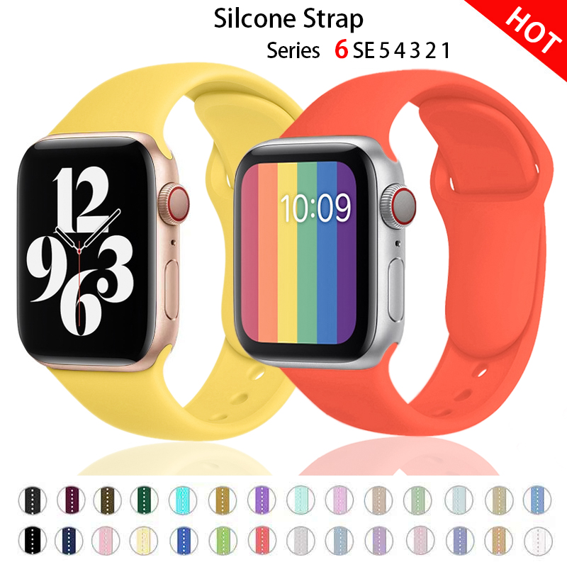Silicone Strap For Apple Watch band 44mm 40mm 38mm 42mm Rubber belt smartwatch Sport bracelet for iWatch serie 3 4 5 6 se strap