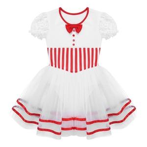 Image 3 - Kinder Mädchen Kurze Spitze Ärmeln Gestreiften Mesh Tutu Ballett Eiskunstlauf Kleid Gymnastik Trikot Performance Dance Wear Kostüme