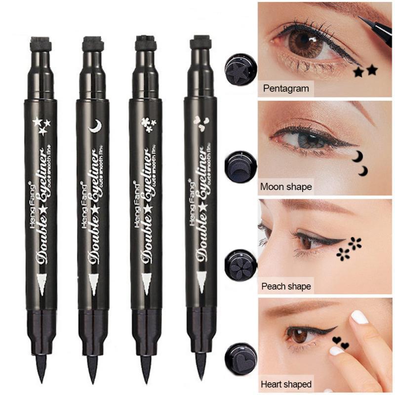 Double tête noir liquide Eyeliner crayon facile à porter maquillage étoile coeur lune timbre étanche marque joint tatouage Eye Liner TSLM2