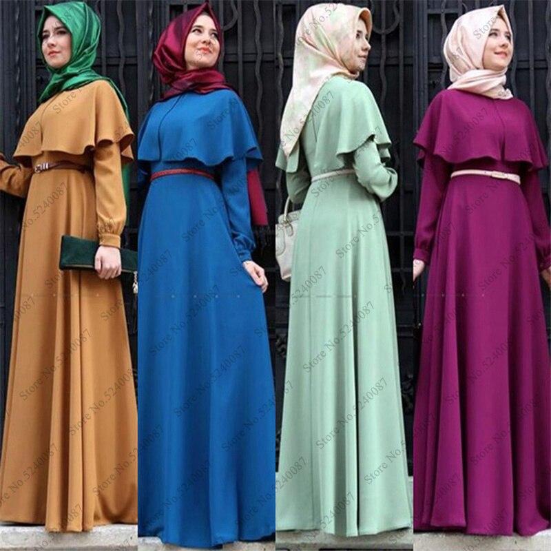 Woman Hijab Abaya Islamic Clothing Dubai Arabic Turkish Muslim India Long Sleeve Robe Gown Ramadan Kaftan Prayer Maxi Dress Belt