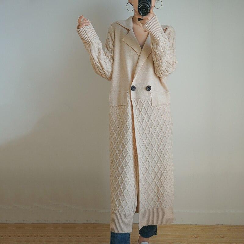 Женское длинное пальто кардиган из 100% шерсти 20, свободный свитер с лацканами и длинным рукавом, вязаное кашемировое пальто высокого качеств