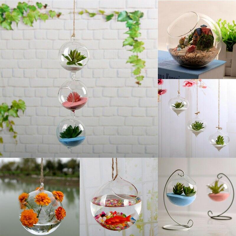 100% True Home Garden Clear Glass Flower Hanging Plant Vase Planter Terrarium Container