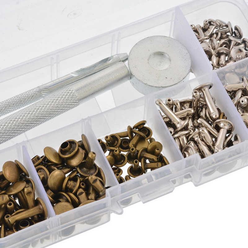 120 sztuk/zestaw Handwork skórzane nity Single Cap nity rurowe metalowe kołki z narzędzie do mocowania zestaw do naprawy skóry Craft