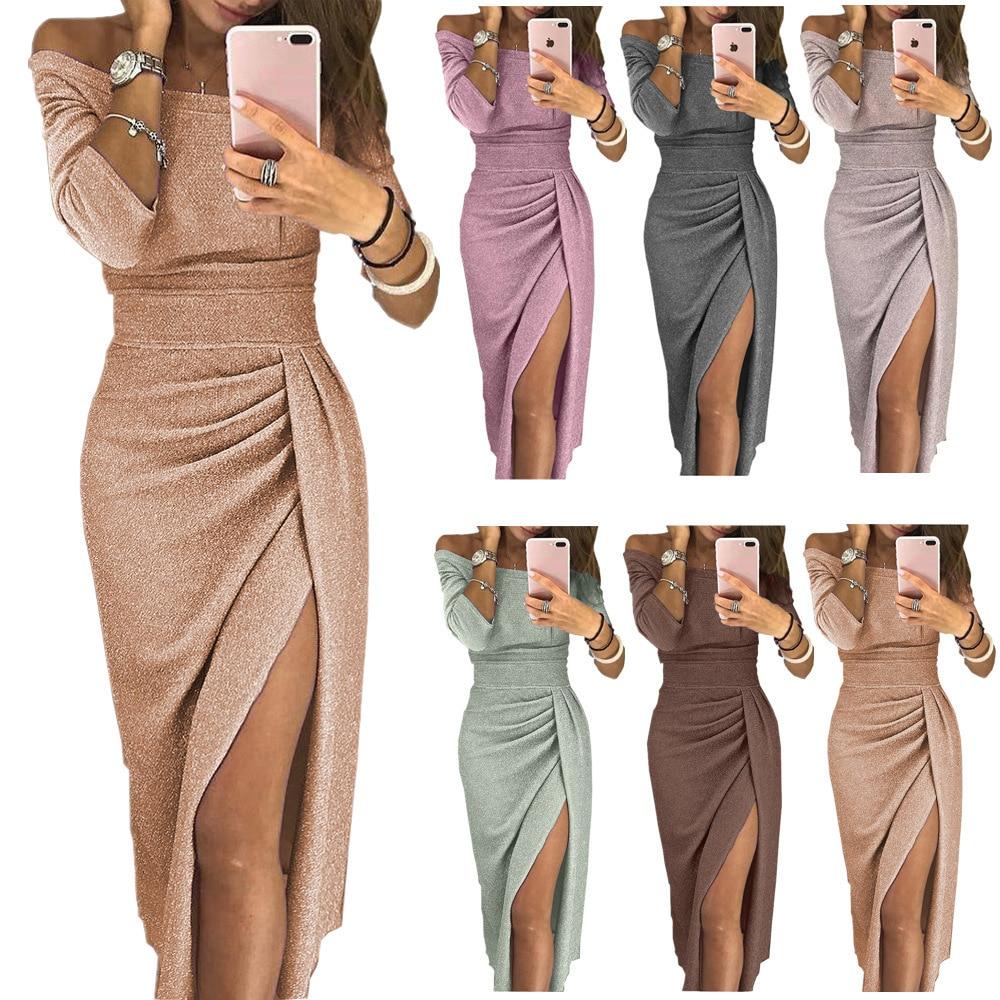 Women's Shiny Plus Size S-xxxl Slash Neck Slit Evening Party Dresses Ladies Sparkling Long Sleeve Bodycon Night Club Dress