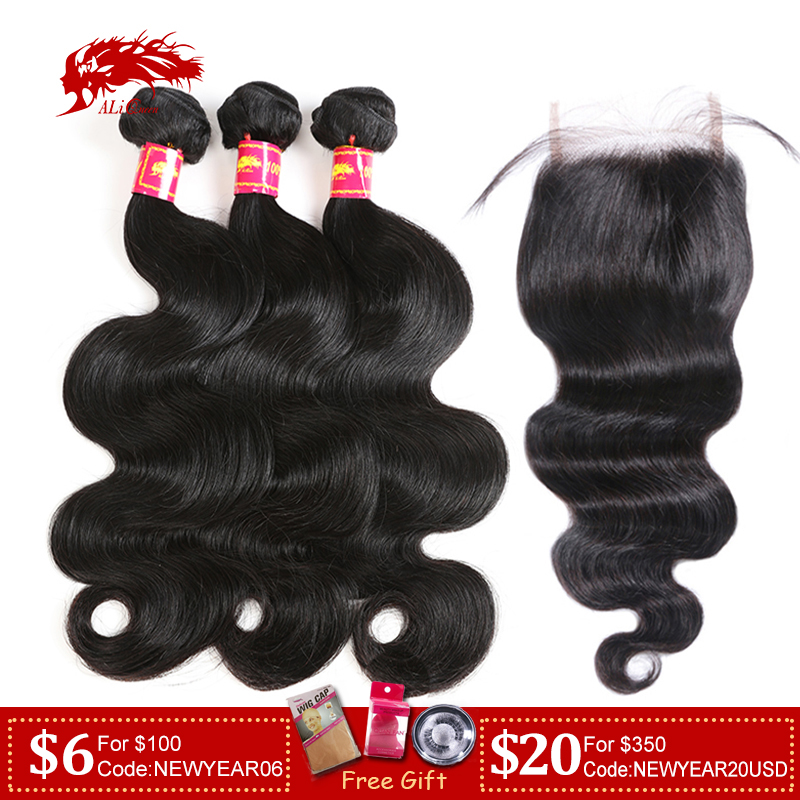 Ali Queen Hair 3/4Pcs Brazilian Body Wave Remy Hair Bundles With Closure Free Part Bundles With HD Transparent Lace Closure